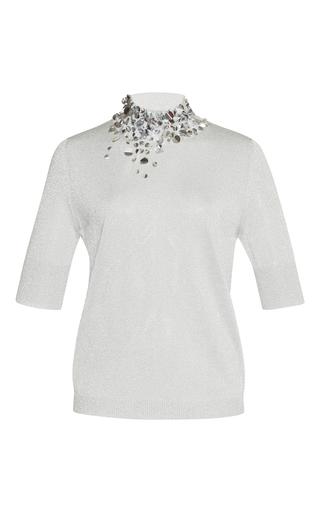 Medium delpozo silver short sleeve embellished knit