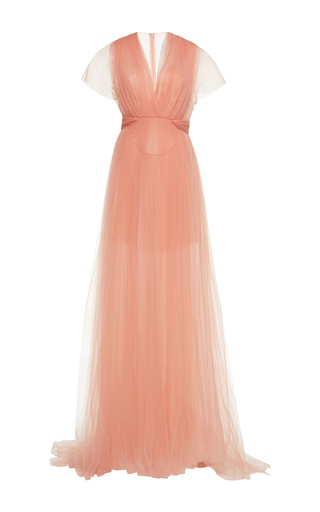 Medium delpozo pink embroidered tulle gown