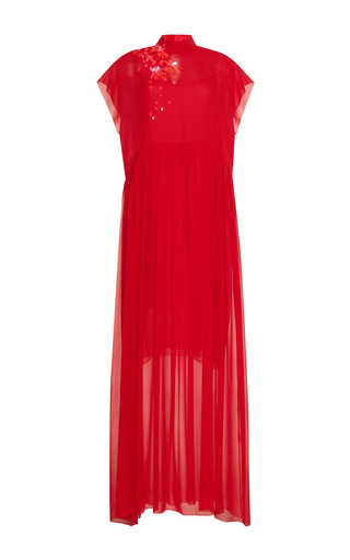 Medium delpozo red beaded embellished gown