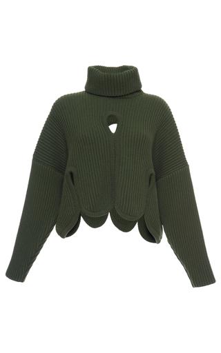 Medium antonio berardi green cropped cutout turtleneck sweater
