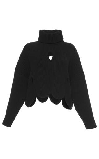 Medium antonio berardi brown cropped cutout turtleneck sweater 2
