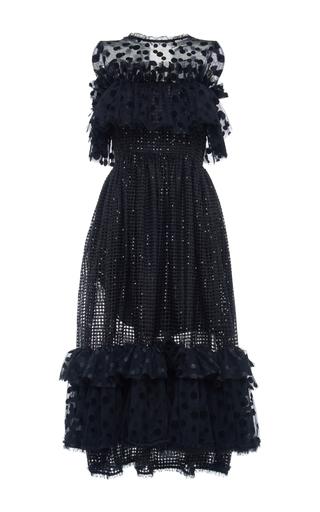 Medium alcoolique black mabola embroidered tiered tulle midi dress