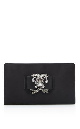 Medium rochas black embellished clutch