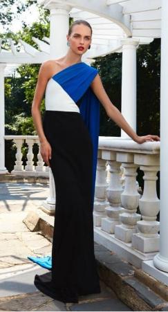 Medium elizabeth kennedy black specialorder parallelogram high neck gown bc