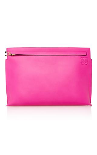 Medium loewe pink two tone leather clutch