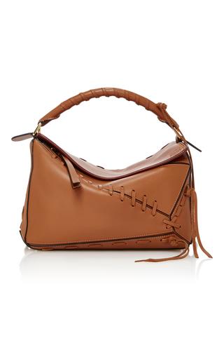 Medium loewe brown puzzle whipstitched leather shoulder bag