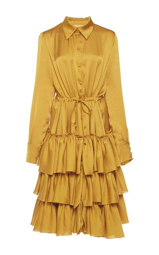 Medium martin grant yellow ruffled shirt dress