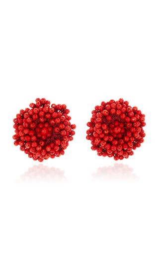 Medium bibi marini red red beaded blossom earrings