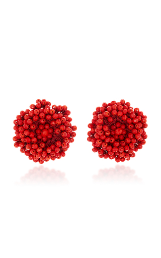 Medium bibi marini red red beaded blossom earrings