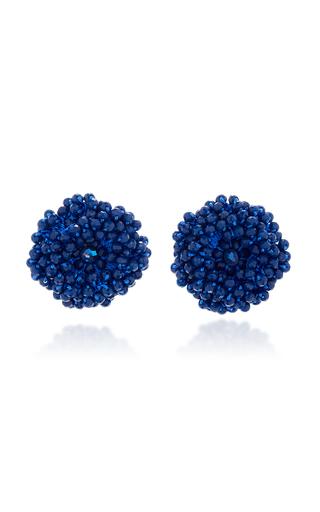 Medium bibi marini blue blue beaded blossom earrings