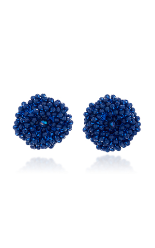 Medium bibi marini blue blue beaded blossom earrings