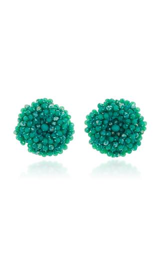 Medium bibi marini green mint beaded blossom earrings