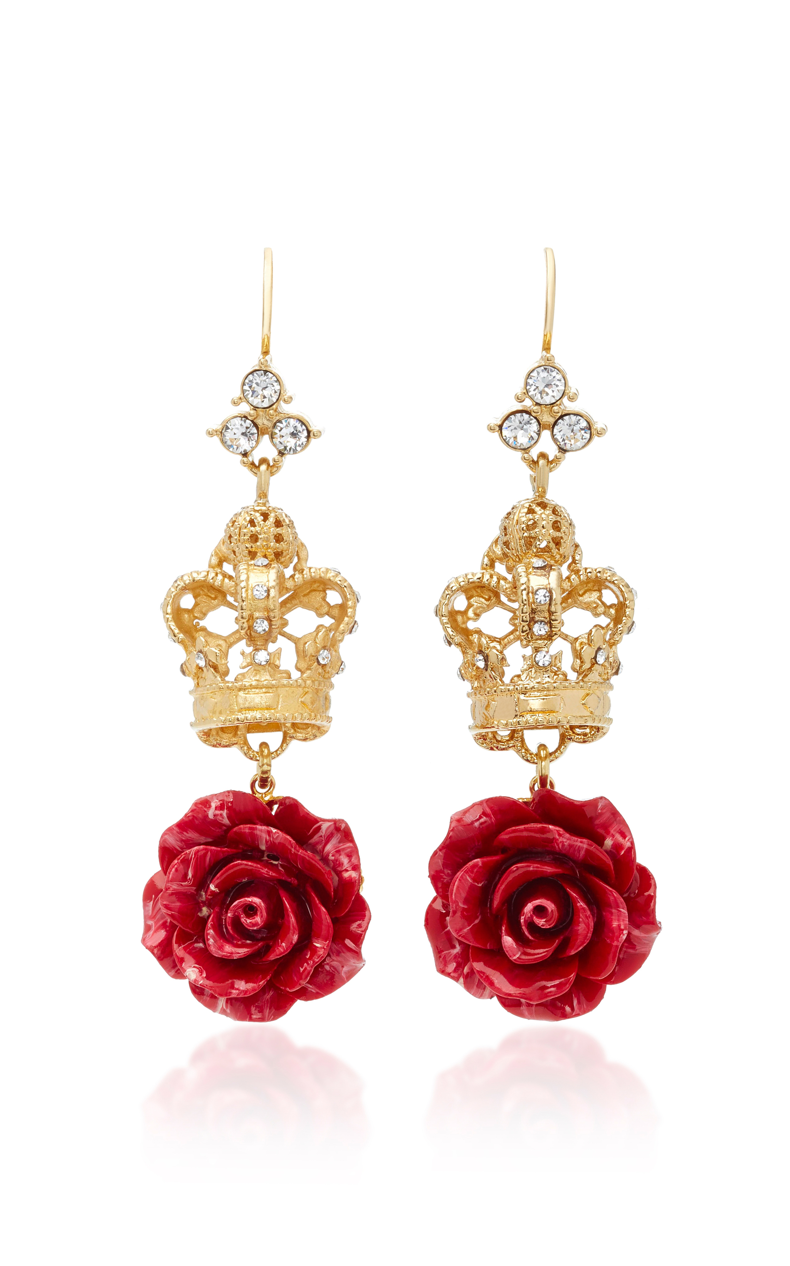 Dolce & Gabbanacrown And Rose Goldplated Crystal Earrings