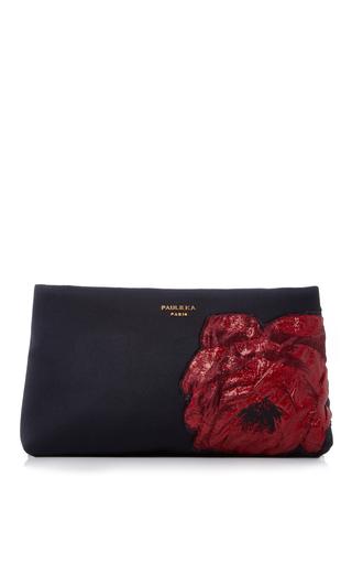 Medium paule ka black duchess satin clutch with embroidery