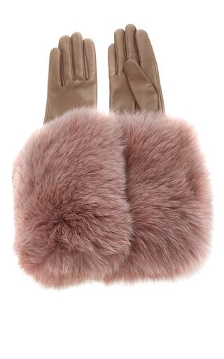 Medium paule ka pink leather gloves with fox fur cuff