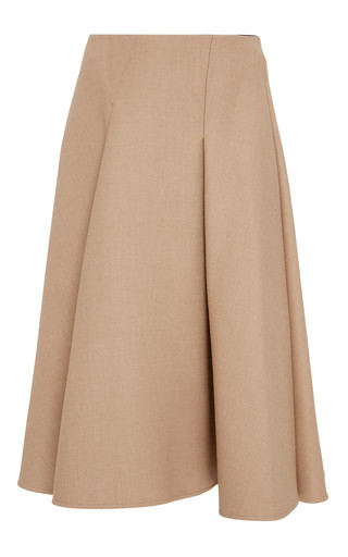 Medium paule ka brown wool tricotine flared skirt