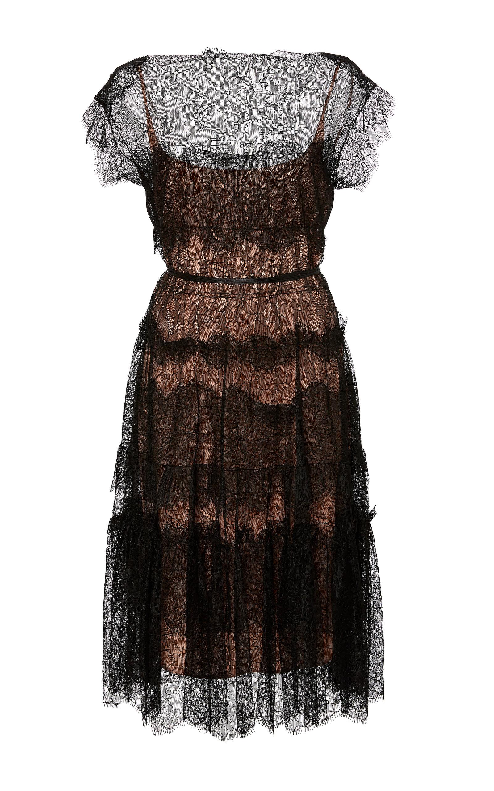 Paule Ka chantilly lace shortsleeved dress Outlet Deals 100% Authentic For Sale Comfortable For Sale Explore Cheap Classic dDLvzxviP