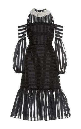 Medium zayan the label black simona organza stripe dress