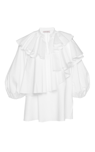 Medium dice kayek white ruffle tiered top