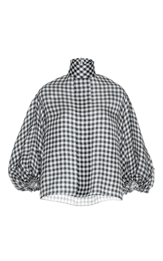 Medium dice kayek print mock neck check shirt