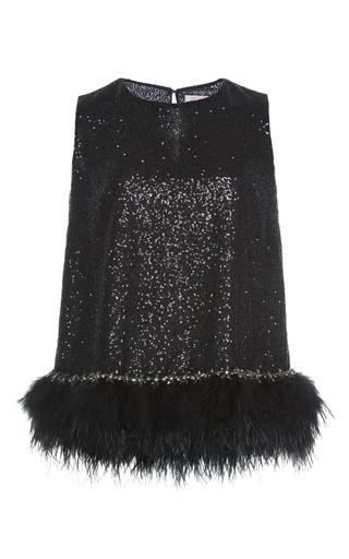 Medium dice kayek black sleeveless top with feathers