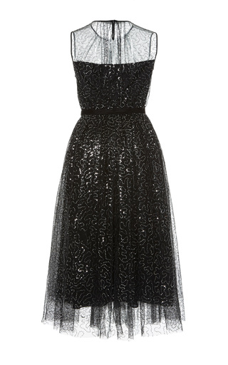 Medium dice kayek black embellished tulle midi dress