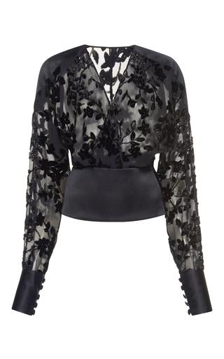 Medium zuhair murad black crossover semi sheer blouse