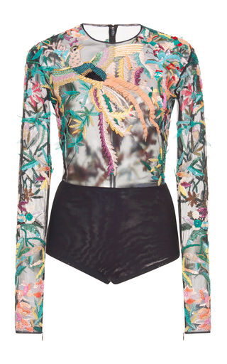 Medium zuhair murad multi long sleeve multicolor embroidered bodysuit