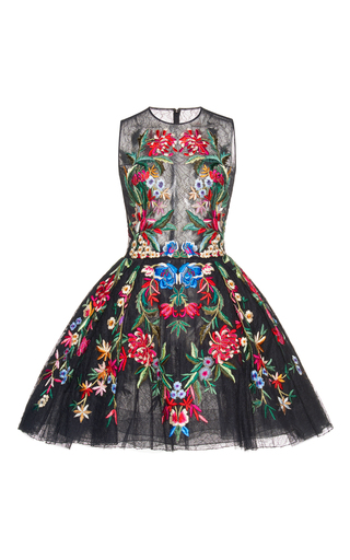 Medium zuhair murad black multicolor embroidered mini dress