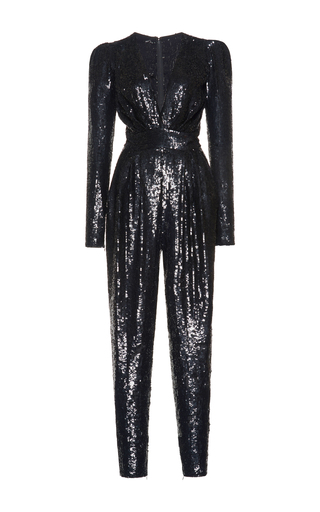 Medium zuhair murad black plunging sequin jumpsuit