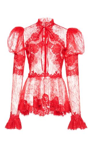 Medium zuhair murad red lace flare cuff top
