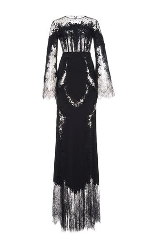 Medium zuhair murad black mermaid inlaid lace gown