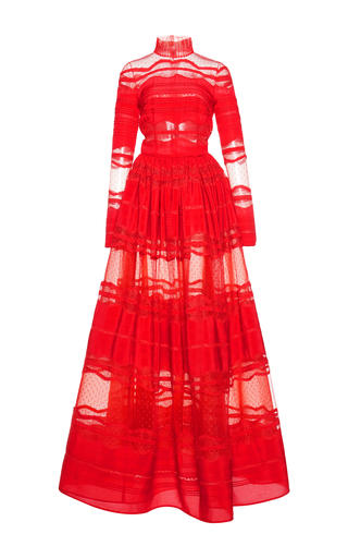 Medium zuhair murad red inlaid lace mock neck gown