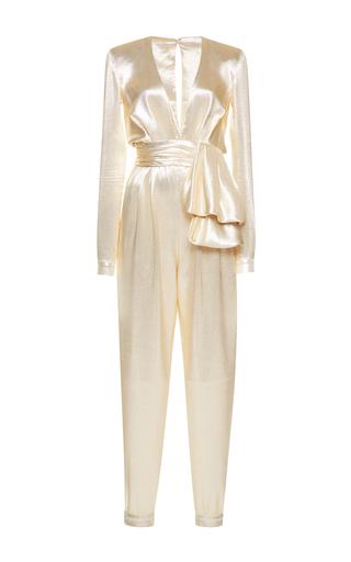 Medium zuhair murad gold high waisted lame jumpsuit