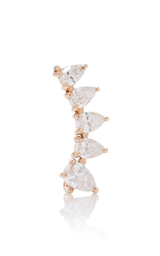 Medium anita ko pink left pear diamond floating earring