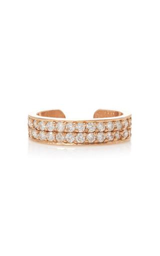 Medium anita ko pink double row diamond ear cuff in rose gold