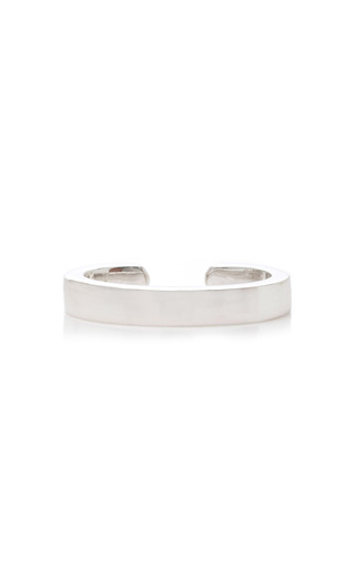 Medium anita ko silver single row plain ear cuff in white gold