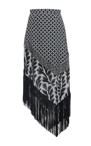Medium andrew gn black white printed fringe skirt 2