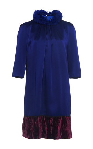 Medium andrew gn blue ruffle neck mini dress