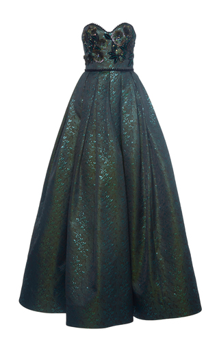 Medium andrew gn green embellished strapless gown
