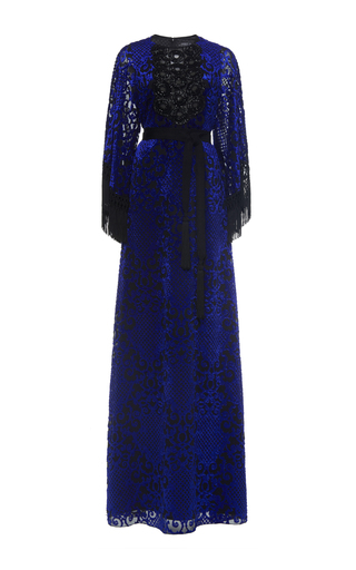 Medium andrew gn blue fringe sleeve gown with beads