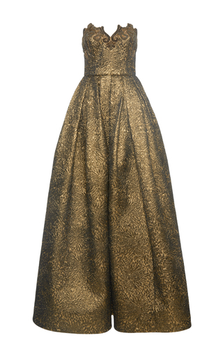 Medium andrew gn gold strapless gown with embroidery