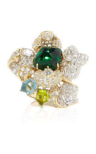 Medium anabela chan green emerald blossom ring
