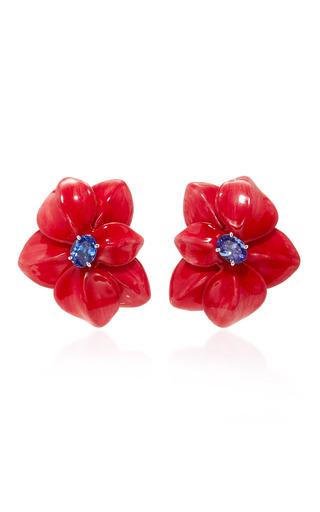 Medium sabbadini red light tanzanite flower earrings