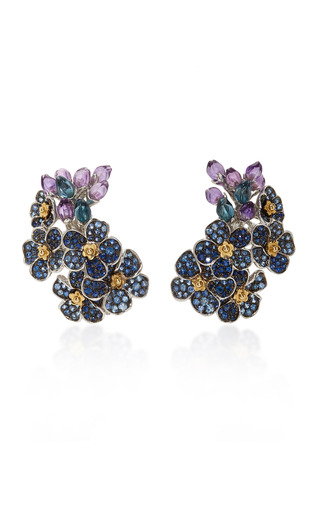 Medium morphee joaillerie blue forget me not earrings