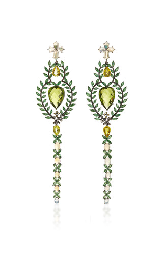 Medium lydia courteille green 18k black rhodium gold earrings with diamonds sapphires tsavorites peridots opals and green tourmaline