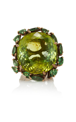 Medium lydia courteille green 18k brown rhodium gold ring with tsavorites and green tourmaline