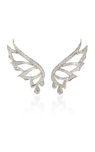 Medium stephen webster silver magnipheasant pave drop earstuds