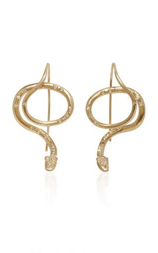 Medium annette ferdinandsen gold serpent earrings with diamond pave