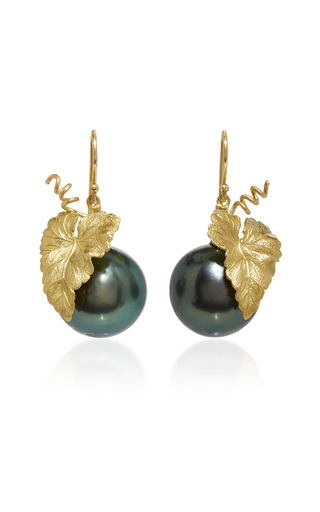 Medium annette ferdinandsen gold hanging grape leaf earrings with baroque black pearl